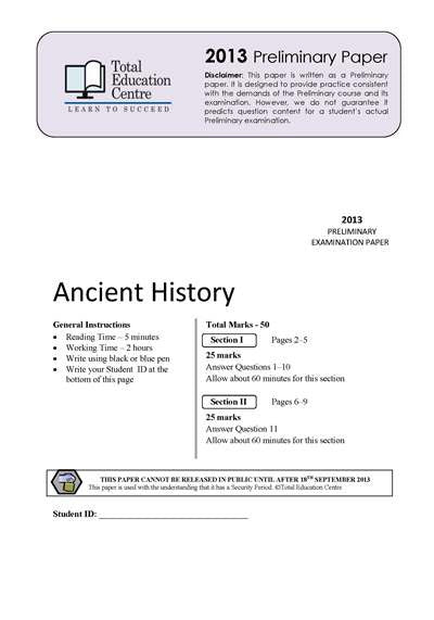 2013 Trial Prelim (Yr 11) Ancient History