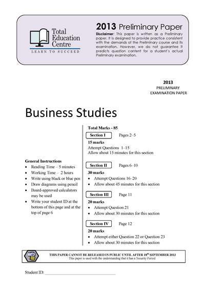 2013 Trial Prelim (Yr 11) Business Studies