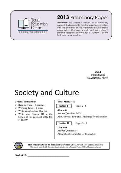 2013 Trial Prelim (Yr 11) Society and Culture