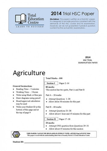 2014 Trial HSC Agriculture paper