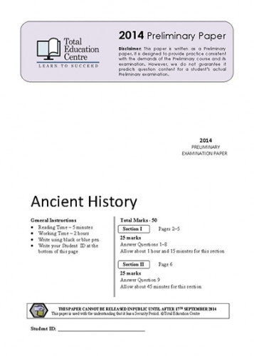 2014 Trial Prelim (Yr 11) Ancient History