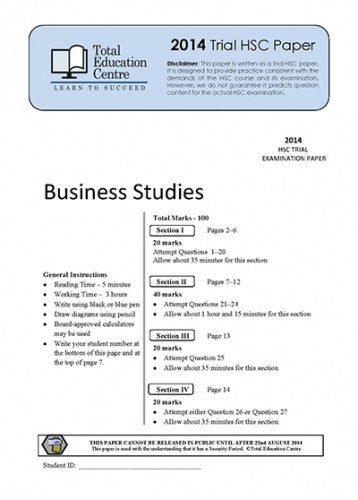 2014 Trial HSC Business Studies