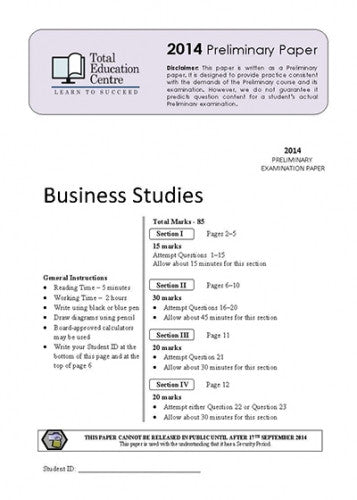 2014 Trial Prelim (Yr 11) Business Studies