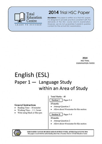 2014 Trial HSC English ESL P1&2