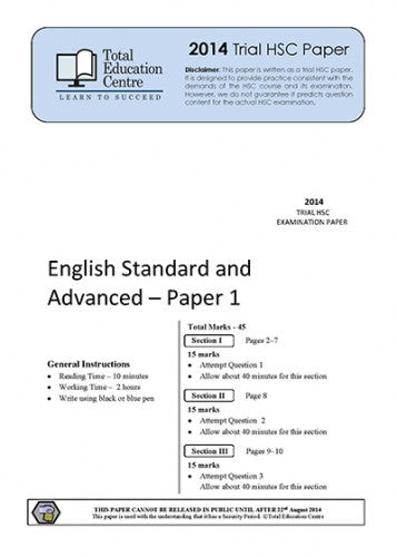 2014 Trial HSC English Advanced Papers 1 & 2