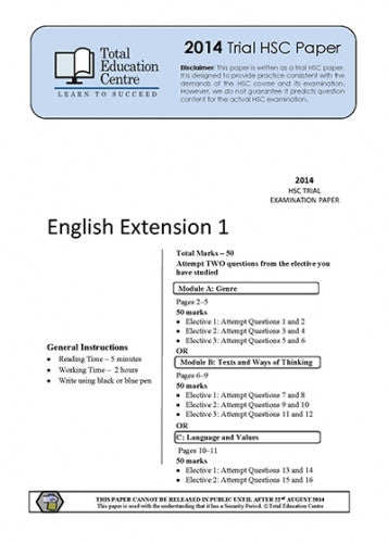 2014 Trial HSC English Extension 1
