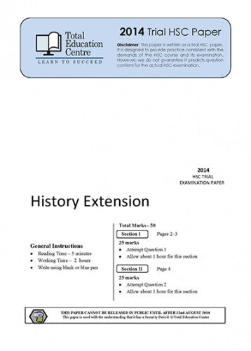2014 Trial HSC Extension History