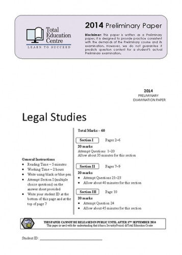 2014 Trial Prelim (Yr 11) Legal Studies