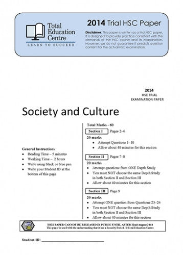 2014 Trial HSC Society and Culture