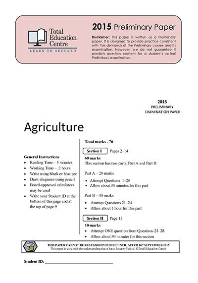 2015 Preliminary Agriculture (Yr 11)