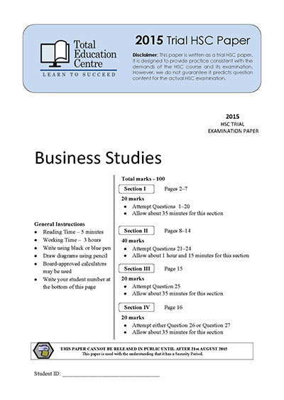 2015 Trial HSC Business Studies