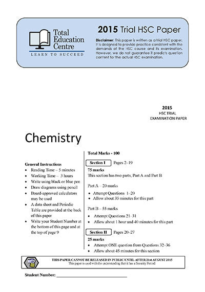 2015 Trial HSC Chemistry paper