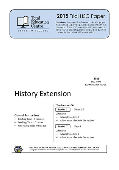 2015 Trial HSC Extension History