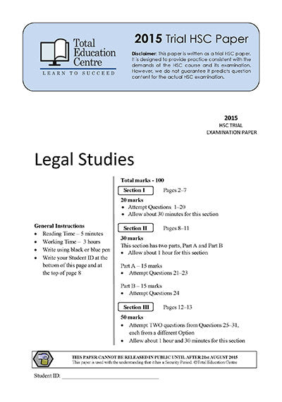2015 Trial HSC Legal Studies