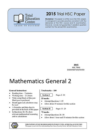 2015 Trial HSC General Mathematics