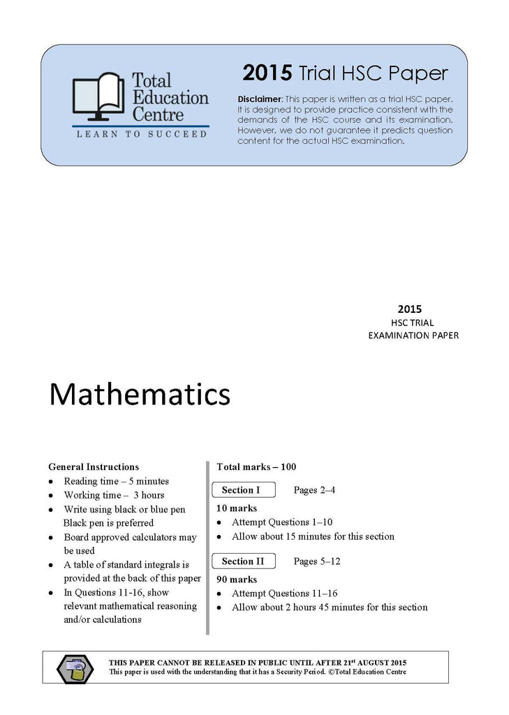 past hsc trial papers mathematics The catholic secondary schools association nsw/act has, for over forty years, operated to provide catholic secondary schools with a forum for exploring contemporary professional developments, particularly in relation to rosa and higher school certificate.