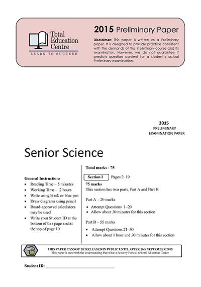 2015 Preliminary Senior Science (Yr 11)