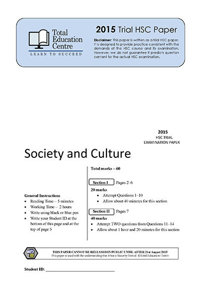 2015 Trial HSC Society and Culture