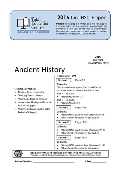 2016 Trial HSC Ancient History