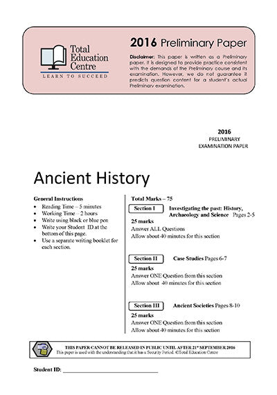 2016 Trial Prelim (Yr 11) Ancient History