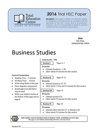 2016 Trial HSC Business Studies