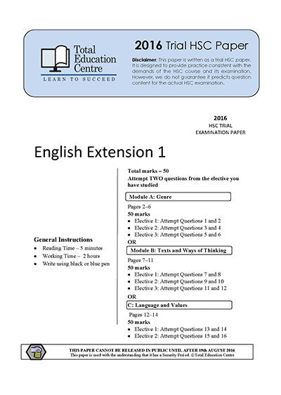 2016 Trial HSC English Extension 1