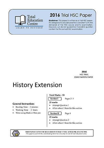 2016 Trial HSC Extension History