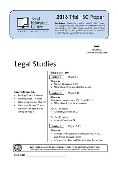 2016 Trial HSC Legal Studies