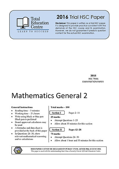 2016 Trial HSC General Mathematics