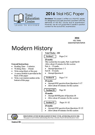 2016 Trial HSC Modern History