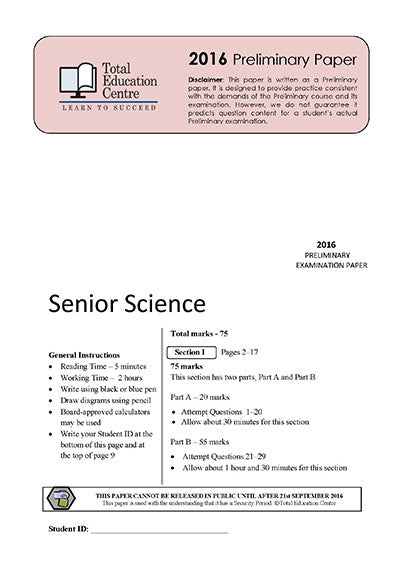 2016 Preliminary Senior Science (Yr 11)