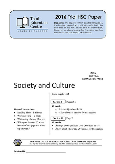 2016 Trial HSC Society and Culture