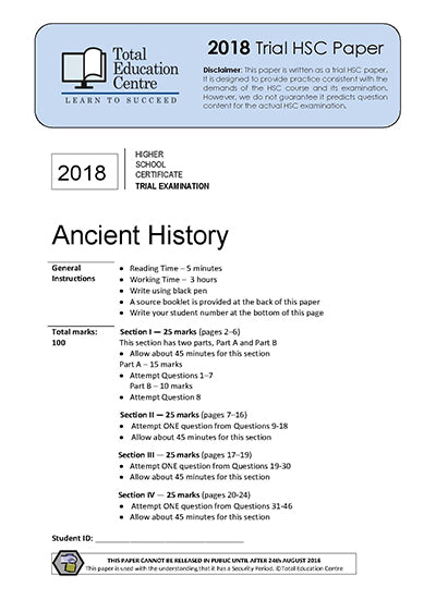 2018 Trial HSC Ancient History
