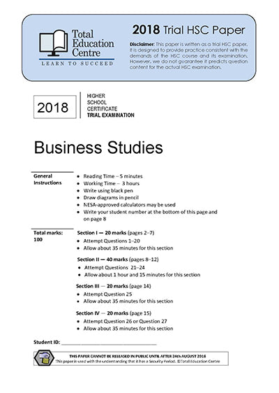 2018 Trial HSC Business Studies