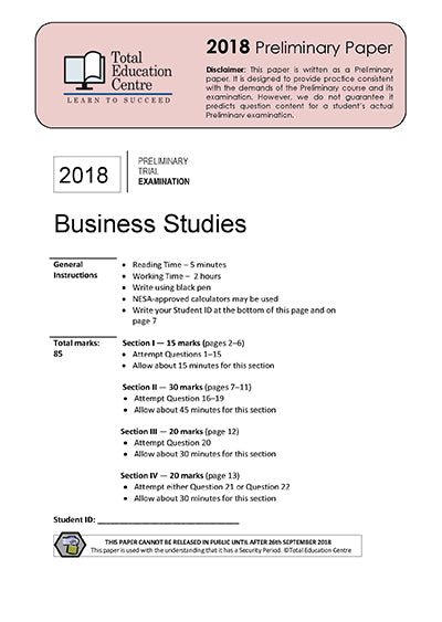2018 Trial Prelim (Yr 11) Business Studies