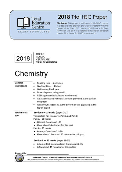 2018 Trial HSC Chemistry