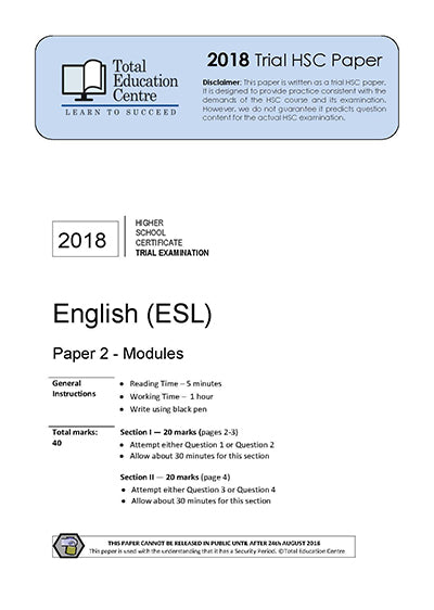 2018 Trial HSC English ESL Paper 2