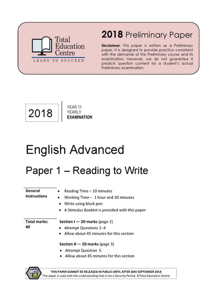 2018 English Advanced Year 11 - Paper 1