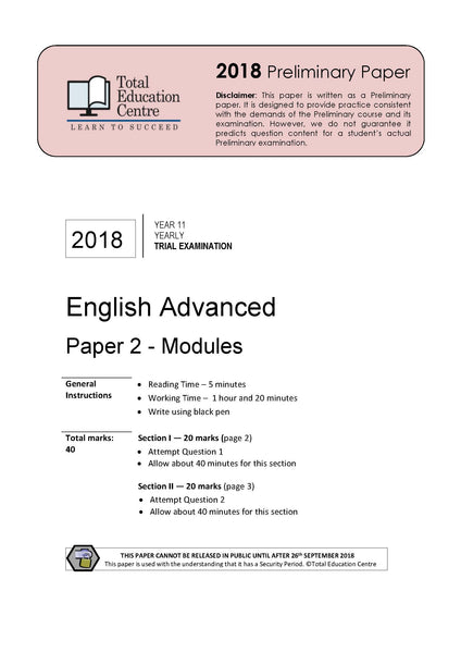 2018 English Advanced Year 11 - Paper 2 Modules
