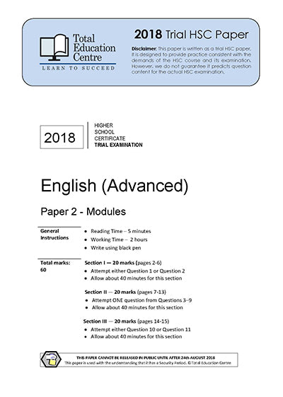 2018 Trial HSC English Advanced Modules Paper 2