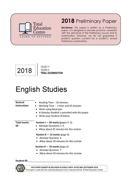 2018 English Studies Year 11