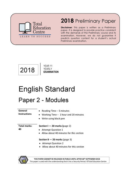 2018 English Standard Year 11 - Paper 2 Modules