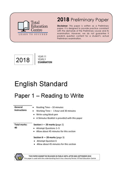 2018 English Standard Year 11 - Paper 1