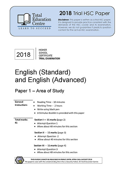 2018 Trial HSC English Adv Stand Paper 1 - Discovery