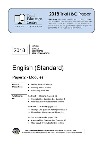 2018 Trial HSC English Standard Modules Paper 2