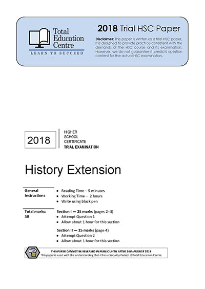 2018 Trial HSC Extension History