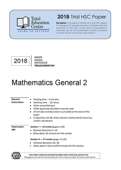 2018 Trial HSC General Mathematics
