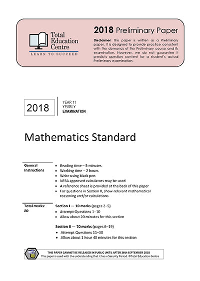 2018 Maths Standard Year 11