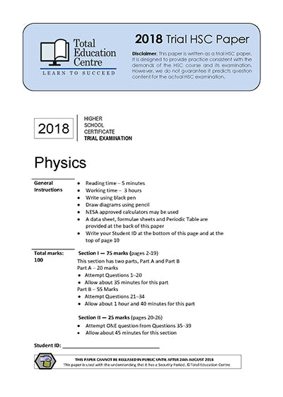 2018 Trial HSC Physics paper