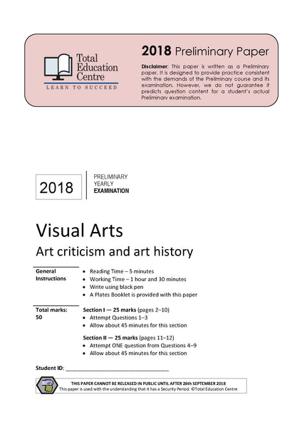2018 Trial Preliminary (Yr 11) Visual Arts